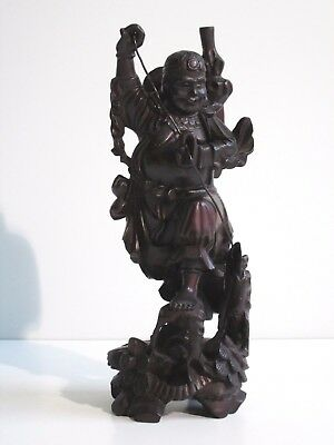 Vintage Carved Wood Chinese Statue Scultura Orientale In Legno H 26Cm
