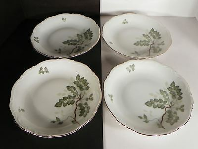 Mitterteich Green Leaves Coupe Soup Bowl (s) LOT OF 4