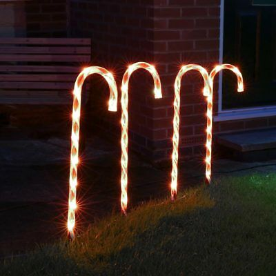 Set Of 4 Outdoor Garden Path Christmas Decoration Candy Cane Led Stake Lights