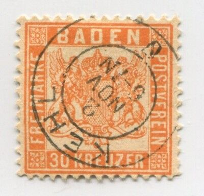 BADEN GERMANY STATE old rare FAKE early FORGERY stamp FORGERIE WITH CANCEL#45608