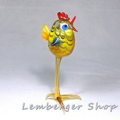 Glass figurine chicken made of colored glass. Height 12 cm / 4.8 inch!