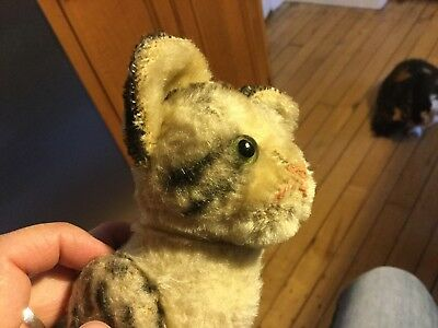 "Antique German Rare Steiff Jointed Tabby Cat Kitten 6"" No Id Excelent Condition"