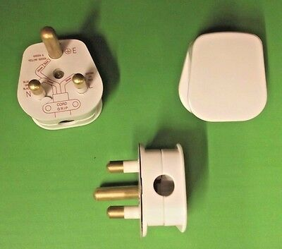 15A WHITE Mains Plug Round Pin 3 Pins 15 Amps BS546 Re Wireable Cord Grip x 1pc