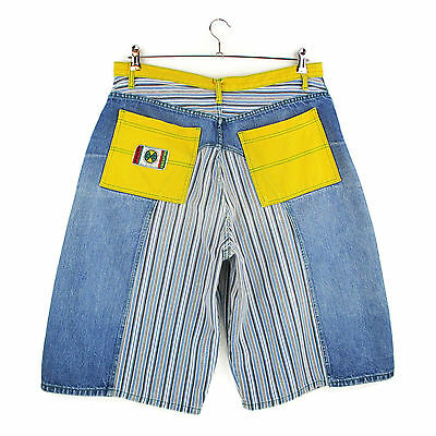 Vintage 90s Cross Colours Shorts Mens Size 38 Blue Yellow Striped Denim Hip Hop