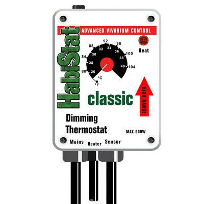 Habistat Dimming Thermostat 600W White Reptile Dimmer Thermostat HIGH RANGE