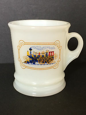 Avon Milk Glass Collectible White Coffee Mug Cup - Steam Engine Train Vtg Rare