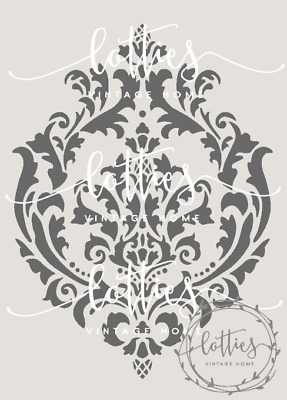 A4 Stencil DAMASK BROCADE FLOURISH Furniture Shabby Chic Vintage 190 MYLAR ❤