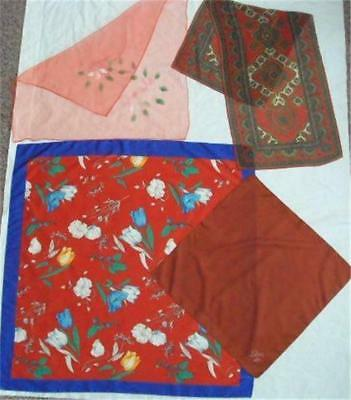 Lot of 4 Vintage Scarves in Various Reds & Rust - One is Marked LIBRA