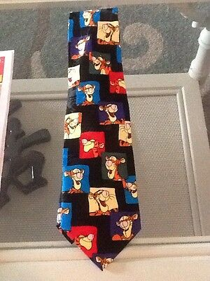 DISNEY WINNIE THE POOH WORKS TIGGER ADULT NECKTIE BLACK Orange Blue Smiling Fun