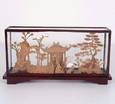 """Chinese Cork Sculpture Picture w/ Cranes Red Wood Encased Framed Glass 7.5""""L"""