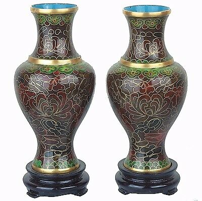 "2 Chinese Cloisonne Floral Vases in Gold Dark Brown 5""H New"