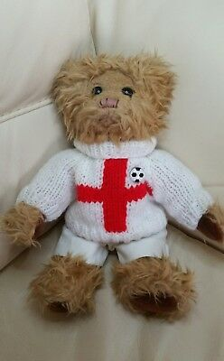 Russia World Cup 2018 ! - England Flag Hand Knitted Jumper & White Shorts -Teddy