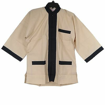 Traditional Chinese Men's Jacket in Beige w/ Black Trim - Size S - New