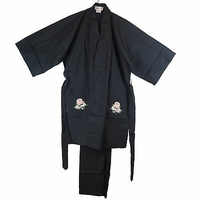 Traditional Chinese Women's Floral Embroidered Jacket Top & Pants Black L New