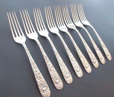 "S. Kirk & Son Inc Repousse Sterling 7 1/4"" Dinner Fork No Mono - 8 Available"