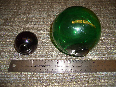 Vintage? Emerald 4 inch Green and 2 inch Purple Glass Fishing Float