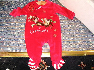 Disney Store Chip & Dale 1St Christmas Emroidered Babysuit 3/6 Or 6/9 Months New