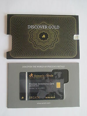 1g Goldbarren, Heimerle+Meule,Secain Card, 999,9/1000 Fine Gold, Folder, rar !!!