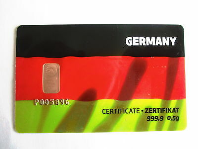 "0,5g Goldbarren, PIM, ""Germany"", 999,9/1000 Fine Gold, im Blister !!"