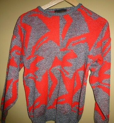 80's Op Art Pattern Vintage Jumper Size M Grey and red UNISEX