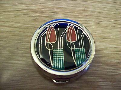 Mackintosh Collection Enamelled Pill Box, Black Floral Design with Tulips