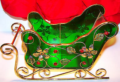 Gorgeous Green Glass Gold Trim Red Beads Christmas Sleigh, Candy Gift or Display