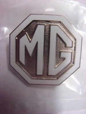 MG enamel pin badge. White and Silver design. Midget MGB GT. Rover