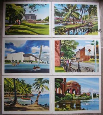 Original Vintage Lot of 6 Tom Hoyne Prints Painted For United Airlines 1961