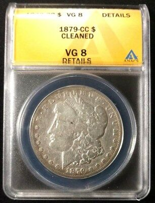 1879-CC Morgan Silver Dollar ANACS Graded VG-8 Details Cleaned