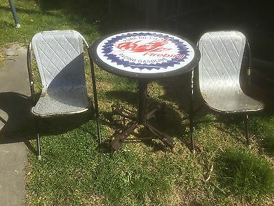 rustic antique vintage man cave metal petrol oil garden table & chairs pu 3825
