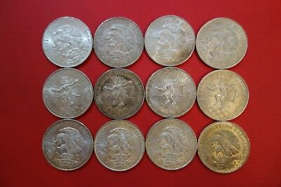 12pcs Lot  Mexican Silver 25 Peso, Circulated, Over 6.25 ounces pure Silver