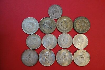 13pcs Lot  Mexican Silver, 72% Fine, Circulated, Over 7.1 ounces pure Silver