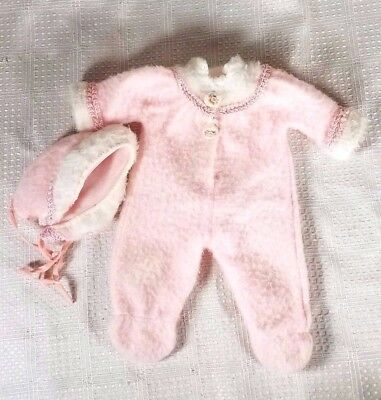 Vintage 1965 Vogue Doll Pink One Piece Pram Outfit with Bonnet