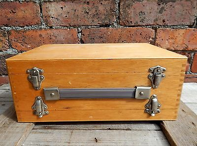 Vintage Beach Wood Double Storage Case Box for Photographic Photo Slides 35mm