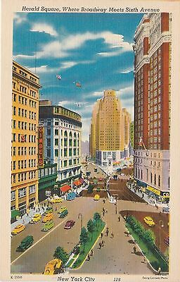 Herald Square New York City NY Postcard Linen Colourpicture