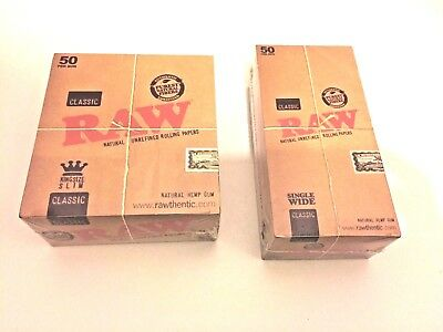 Raw Classic King Size & Single Wide Natural Unrefined Rolling Papers Original