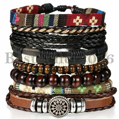 8pcs Mixed Tribal Leather Beaded Cuff Wristband Bangle Bracelet for Men Women