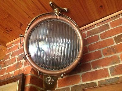 Vintage nautical flood light General Electric ge copper brass huge will ship
