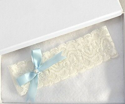 Wedding Vintage Light blue  Ribbon Bow with Pearl Bridal IVORY Lace Garter