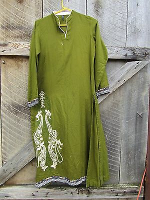 Olive green hippie embroidered tunic XS Origins