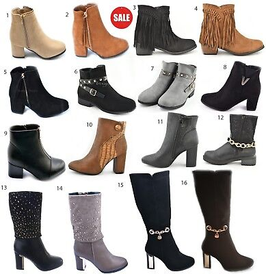 Ladies Womens Ankle Boots Shoes Mid Calf Flat High Heel Chelsea Riding Low Zip