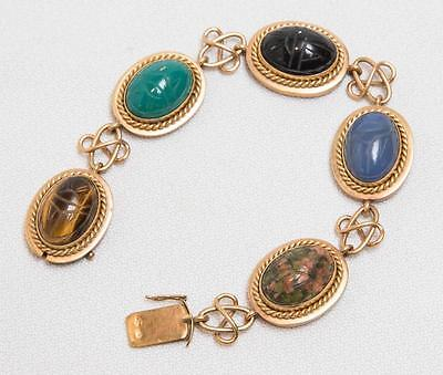 Vintage 18K Gold Scarab Bracelet Knot Like Links tob