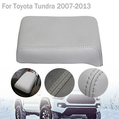 Gray PU Leather Armrest Center Console Lid Cover For Toyota Tundra 2007-2013