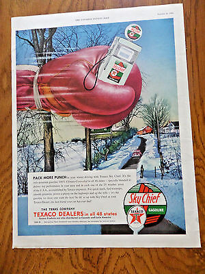 1954 Texaco Sky Chief Gasoline Ad  Packs more Punch! Winter Driving Theme