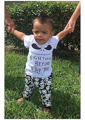 """Kids Halloween """"Nightmare Before Nap Time"""" Pants & Tee Set Outfit Size 24M"""