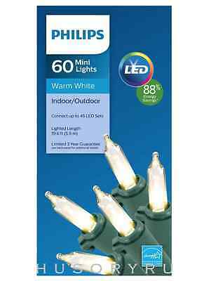New Philips 60 ct LED Mini Light String Warm White Green Wire 19.6 FT Long