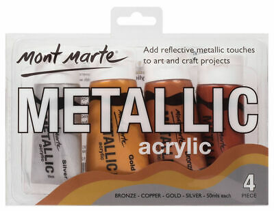 Mont Marte Paint Set - Metallic Acrylic Paint 4pc x 50ml