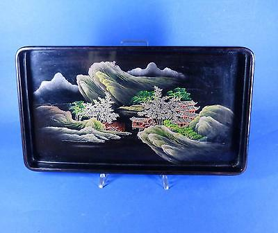 Lacktablett / Lackarbeit - Blumen / Landschaft - Japan / China um 1920
