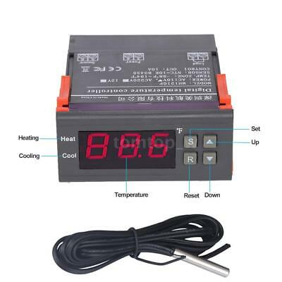 10A 110V Digital Temperature Controller Thermostat -58~194°F Control with Sensor