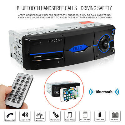 1 DIN Car Bluetooth Stereo FM Radio SD/USB/AUX-IN In-dash Head Unit MP3 Player